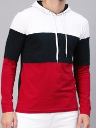 Cotton Men White & Black Colourblocked Slim Fit Hooded T-Shirt, Size: S To XXL