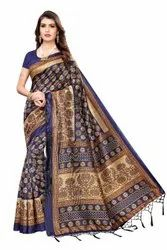 Party Wear Printed Art Silk Saree, 6 m (with blouse piece)