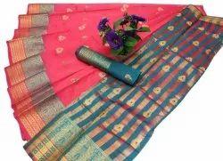 Leeza Store Party Wear Banarasi Cotton Silk Saree, With Blouse, 6.3 m