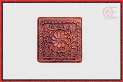 Brown Wood Diamond Corner Carved Flower Box, Size: 10.5X10.5X6.5Cm
