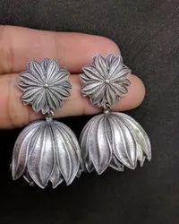 Lotus Design Jhumka Earrings