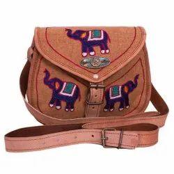 Peach Elephant Design Girl Embroidered Bag
