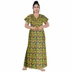 Half Sleeve Green Women Printed Nightwear Gown, Size: UPTO 44 XXL