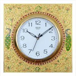 Analog With Embross Work Celebrations Celecrafts Wooden Meena Kari Embossed Clock