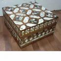 Hexadic Mother Of Pearl And Wooden Trinket Box