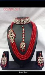 Ladies Stone And Red Pearl Necklace Set, Size: Adjustable