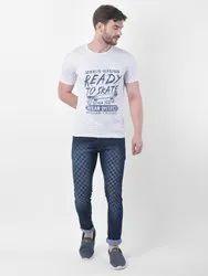 Half Sleeve Cotton/ Linen Mens White Printed T Shirt 0