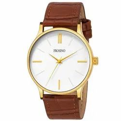 Premium Gold Analog Gold Dial Men's Watch With Brown Strap