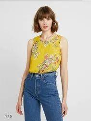 Yellow Ladies Printed Sleeveless Surplus Top