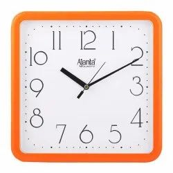 Red Analog Plastic Square Wall Clock