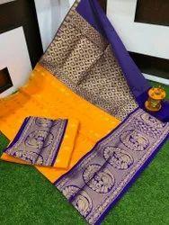 Bridal semi silk contrast pallu saree with blouse