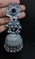 Flower Design Long Jhumka Earrings