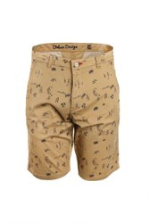 Mens Khaki Shorts with Printed Design