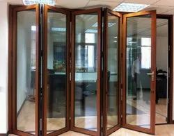 Brown Polished Wooden Finish Aluminium Folding Door, For Home