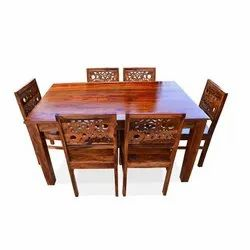 National Furnitures Brown 6 Seater Wooden Dining Table Set