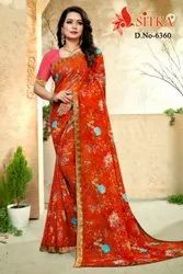 Sitka Casual Wear Chiffon Printed Saree With Blouse Piece