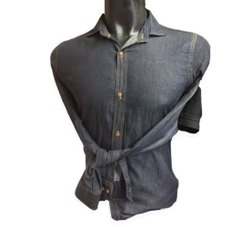 Plain Collar Neck Mens Grey Denim Shirt