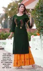 Rayon Casual Wear Kurti With Sharara, Size: 38-44