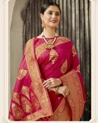 Wedding Wear Printed Silk Cotton Saree, 6.3 m (with blouse piece)
