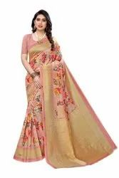 8 Colors Printed Art Silk Saree, With Blouse Piece, 5.2 M (Separate Blouse Piece)