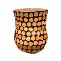 DC35048 Mosaic Glass Tealight Candle Holdar, Shape: Round