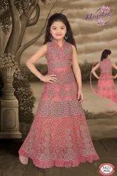 Wedding Wear Net Kids Pink Embroidered Lehenga Choli