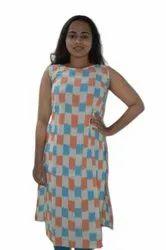Fancy Sleeveless Check Printed Rayon Kurti