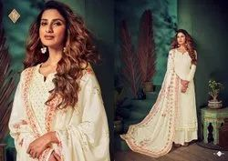 Semi-Stitched White Georgette Embroidered Suit, Dry clean