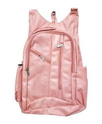 Synthetic Leather Plain Pink Ladies College Bag