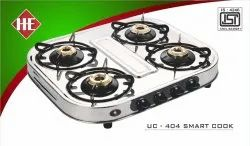 Stainless Steel UC404 Smart Cook Four Burner SS Stove, For Kitchen