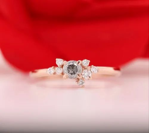 0.25 CT Natural Loose Salt and Pepper Round Brilliant Cut Diamond for Engagement Ring