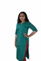 Casual Wear Fancy Green Silk Kurti, Wash Care: Machine wash