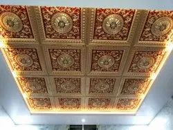 Elevate Interior Golden And Red 2X2 Feet POP False Ceiling Panel, Thickness: 0.50 mm