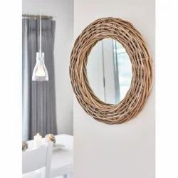 Wooden And Glass Fancy Wall Mirror, Packaging Type: Box, Mirror Shape: Round