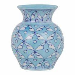Glossy Ceramic GoBamboos Blue Art Pottery Decorative Flower Vase 4 inches