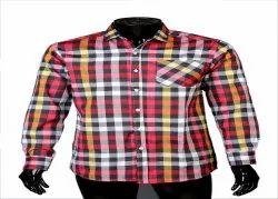 JPND Collar Neck Mens Red Full Sleeves Checkered Shirts