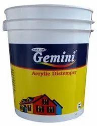 Matt White Gemini Acrylic Distemper Paint, For Wall, Packaging Type: Bucket
