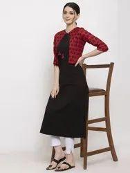 Women Solid Printed Crepe A-Line Jacket Kurta (Red, Black)