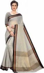 Leeza Store Party Wear Grey Woven Bollywood Polycotton Silk Saree, 5.5 m (separate blouse piece)