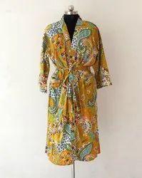 Multicolor Cotton Paisley Print Kimono Robe