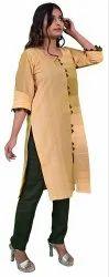Plain Yellow Artisan Glory Knee Length Women Cotton Kurta