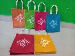 Kolam Print Jute Gift Bags