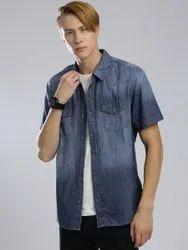 Plain Blue Men Denim Shirt, Size: 34 inch