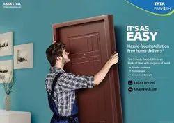 Powder Coated TATA Pravesh Steel Doors, For Home, Single