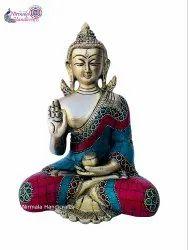 NIRMALA HANDICRAFTS Brass Handicrafts Lord Blessing Sitting Buddha Statue God Idol Figurine
