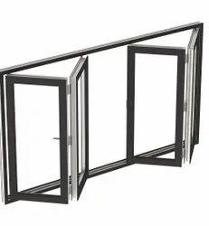 Modern Dark Gray Aluminium Folding Window, For Home