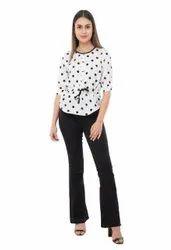 Crepe Casual Wear Ladies Printed Top, Size: Large