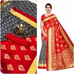 Leranath Fashion Casual Wear Art Silk Printed Saree, With Blouse Piece, 5.5 m (separate blouse piece)