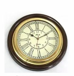 Quartz Brown B -202 Wooden Brass Wall Clock, For Home, Size: 16 Inch