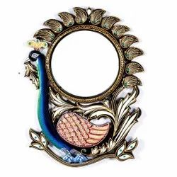 Wooden Peacock Mirror Frame, For Decoration, Size: 18x1.5x24 Inch